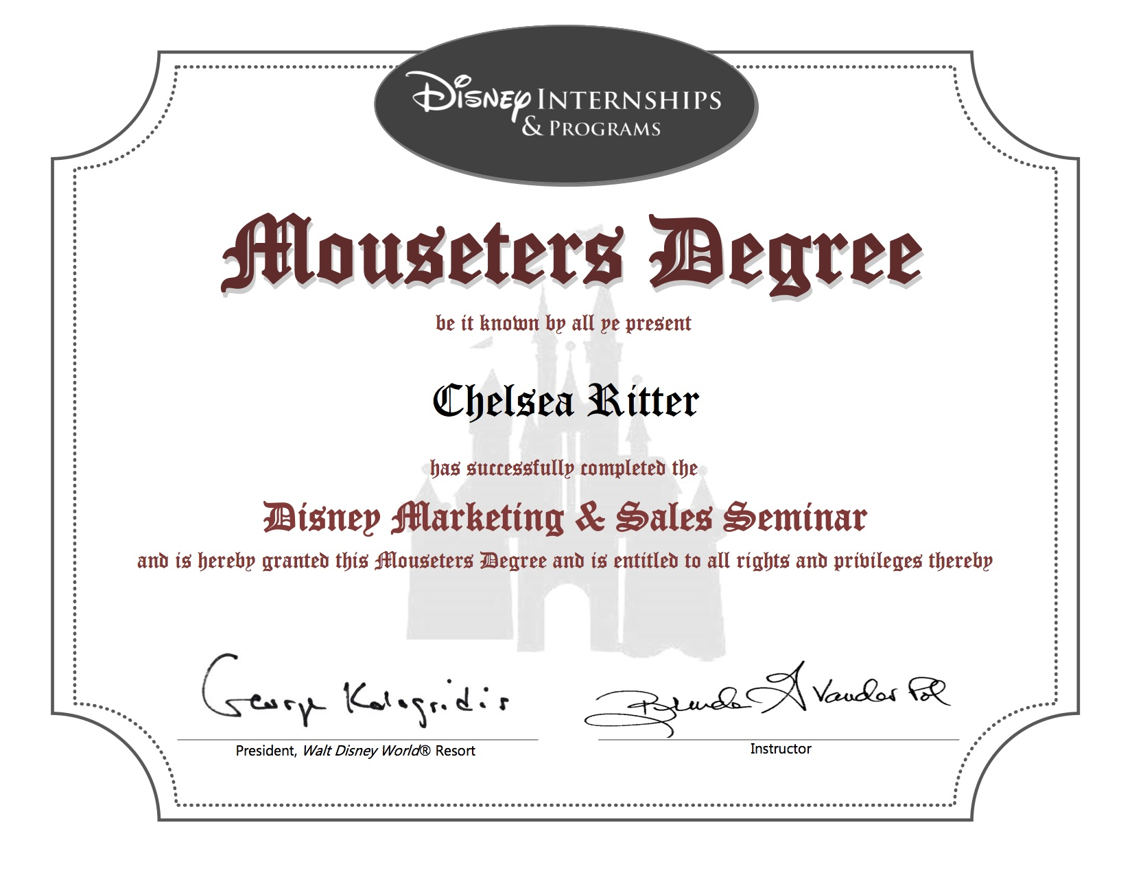 Disney Marketing and Sales Certificate - Chelsea Ritter
